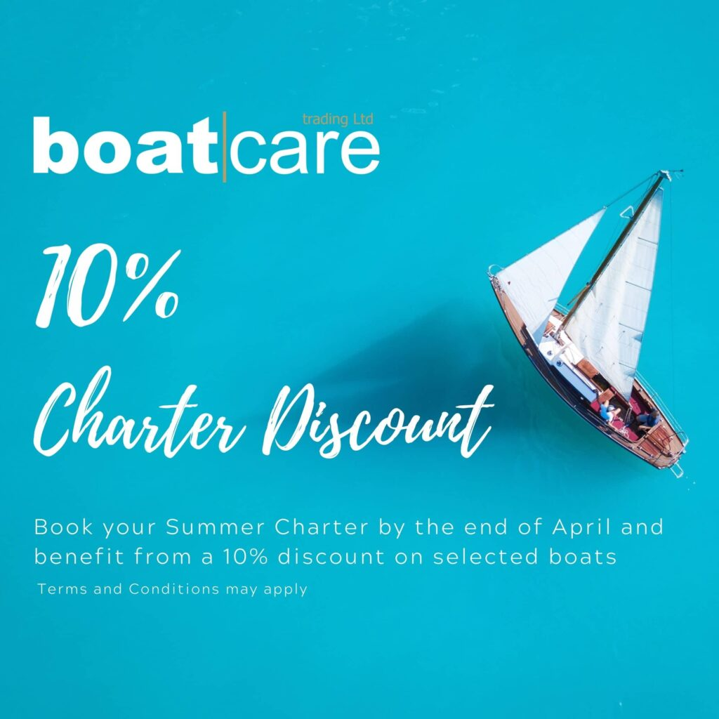 10 percent discount on charters. offer available until end of April